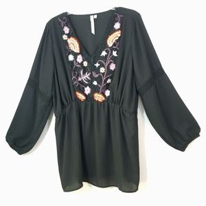 NY Collection floral lace peasant boho top 1X